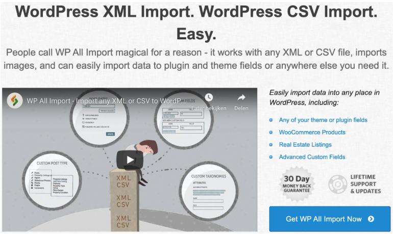 Screenshot plugin WP All Import.