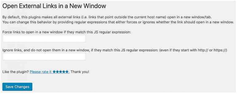 Screenshot Open External Links in a New Window.