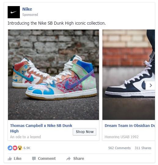 Een carousel ad van Nike