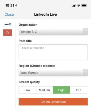 Screenshot van LinkedIn Live in een extra app.