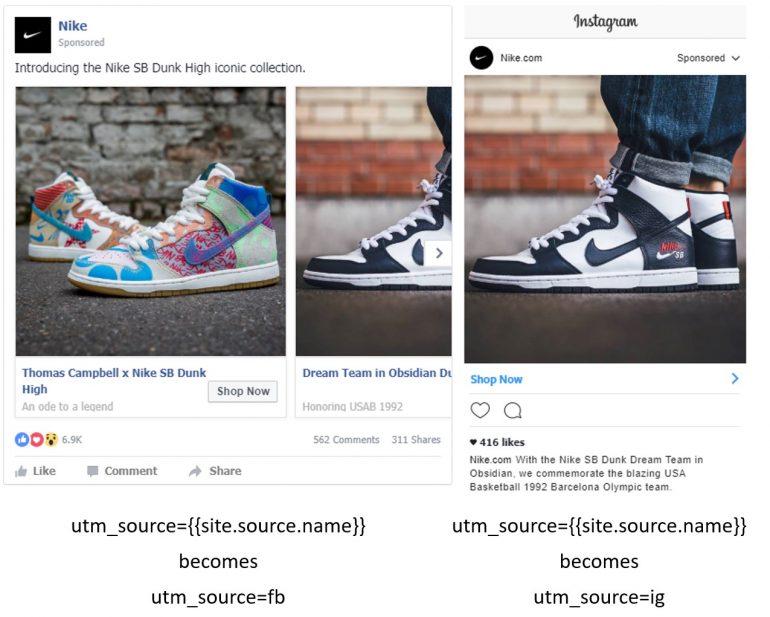 Mock up Nike.com Facebook en Instagram met dynamische {{site.source.name}} parameter