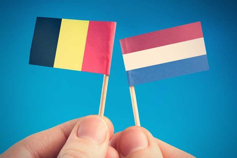 Belgische en Nederlandse vlaggetjes