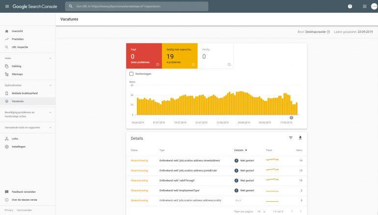 Google for jobs search console: fouten en waarschuwingen.