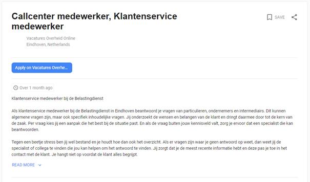 Voorbeeld van vacature in Google for Jobs.