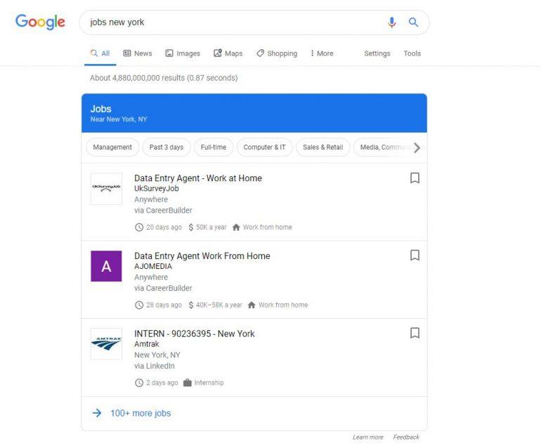 Google for jobs widget.