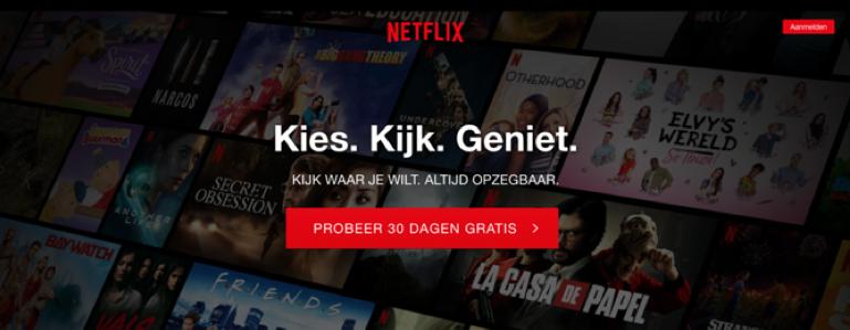 Netflix header op landingspagina