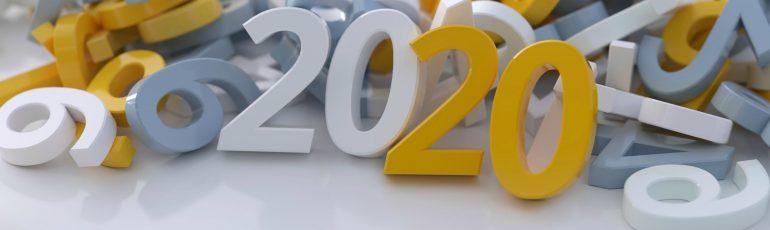 Data-driven marketing trends. Cijfers met het jaartal 2020 in het midden.