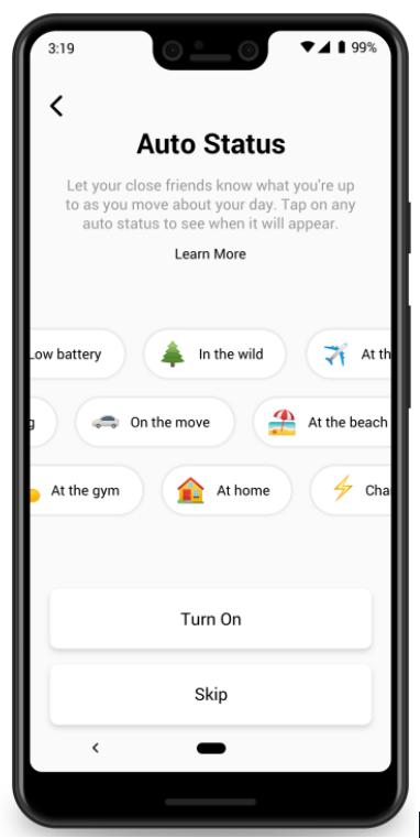 Screenshot van het instellen van je 'auto status' in de app.
