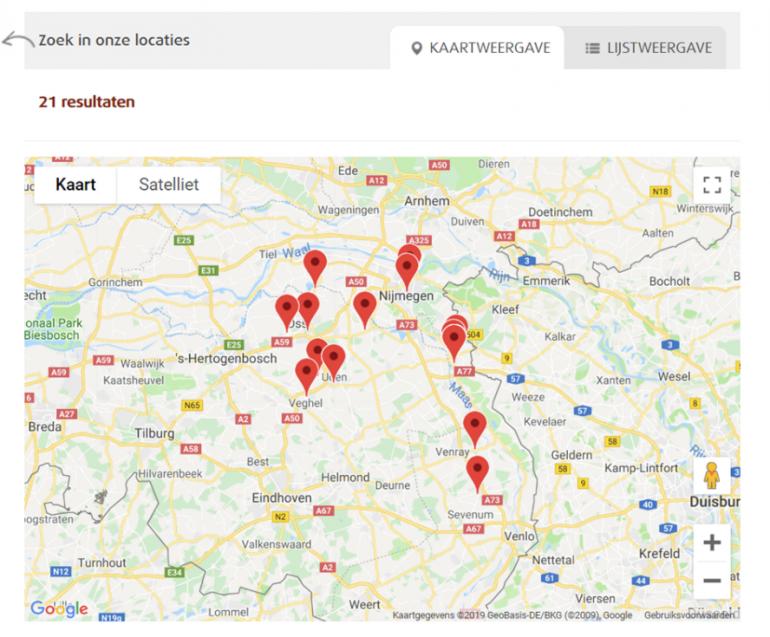Kaartweergave van locaties van zorginstelling Dichterbij