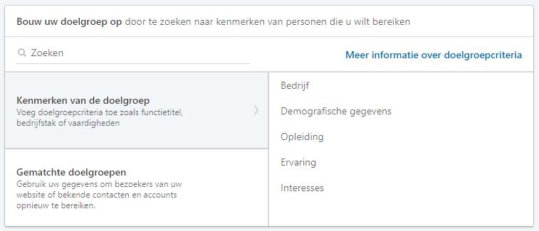 Screenshot van targeting op LinkedIn.
