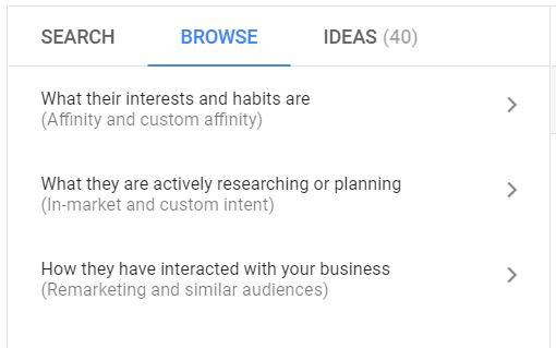 Screenshot van targetten op Google.