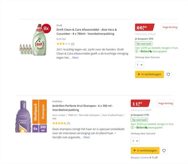 Voorbeelden van multipacks met afwasmiddel en shampoo op bol.com.