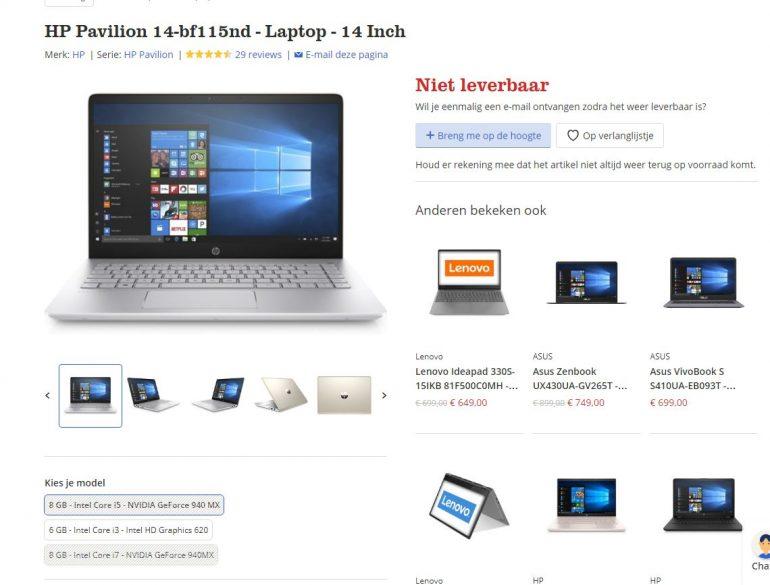 Laptop niet leverbaaro op website bol.com.