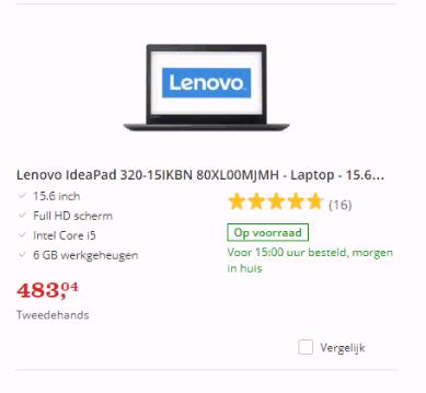 Tweedehands laptop op website bol.com.