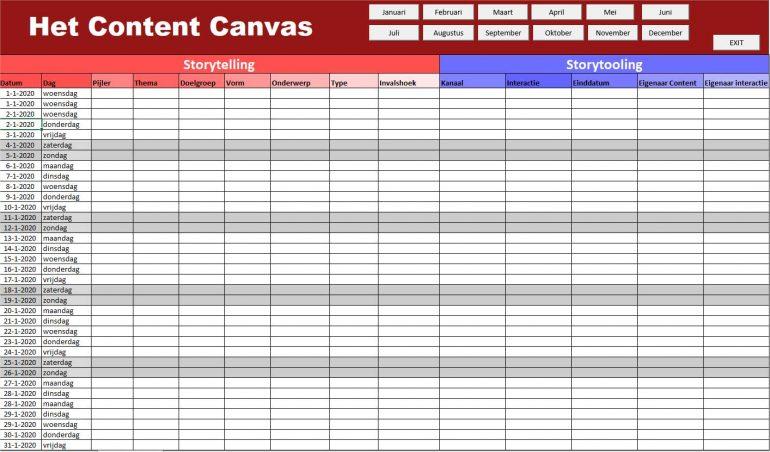 Content Canvas Contentkalender 2020