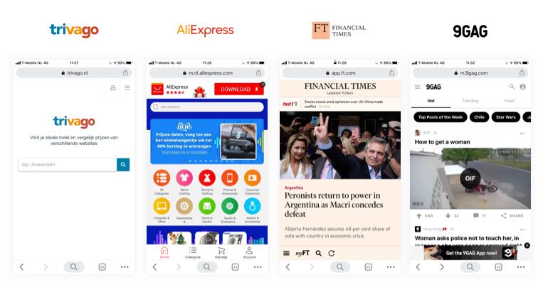 Voorbeelden van light apps.