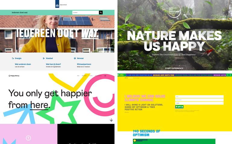 Voorbeelden van optimistisch online design.