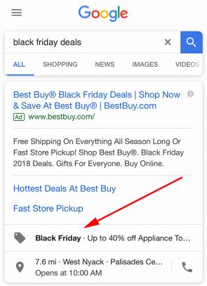 Screenshot van een zoekopdracht voor Black Friday op Google.