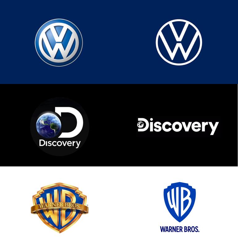Online designtrends 2020: flat logo.