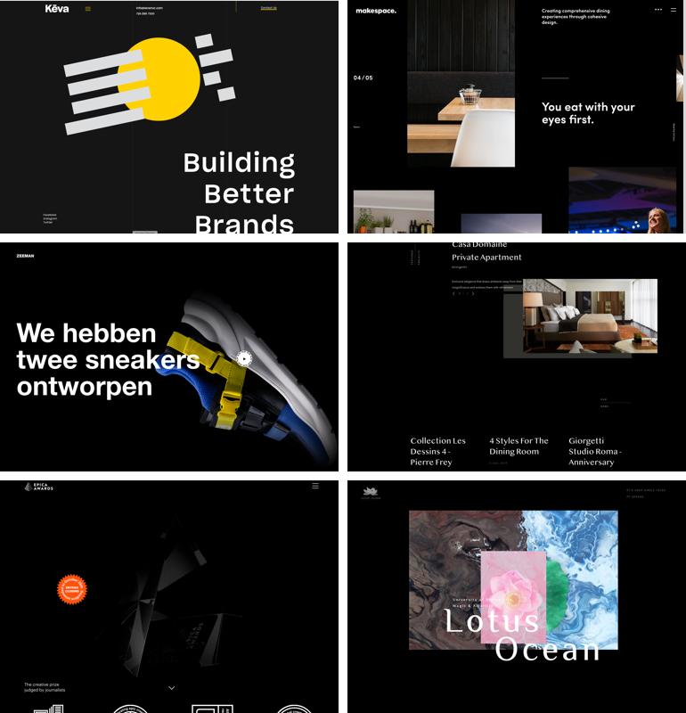 Voorbeelden van dark mode websites.