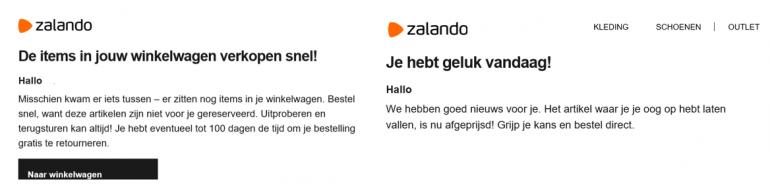 Voorbeeld afrekenen Zalando