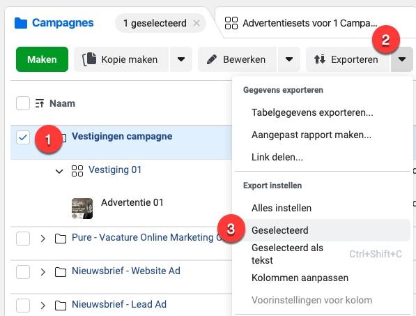 Screenshot van hoe je de campagne exporteert naar Excel.