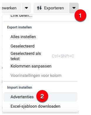 Screenshot van waar je de import van het Excel-bestand kunt doen.
