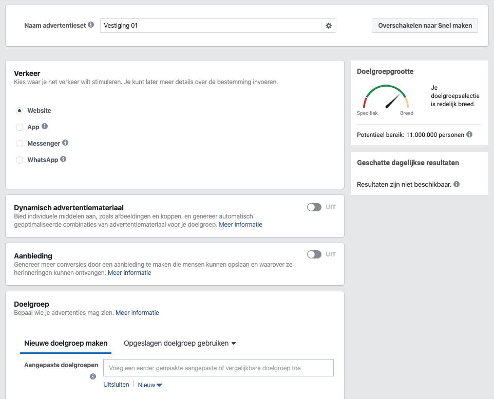 Screenshot van het kiezen van targeting-opties binnen Facebook Ads.
