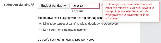 Screenshot van het instellen van je budget per dag.
