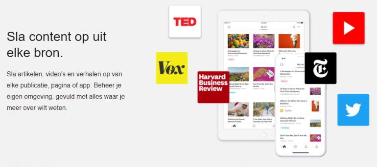 Screenshot van een van de top tools: Pocket.