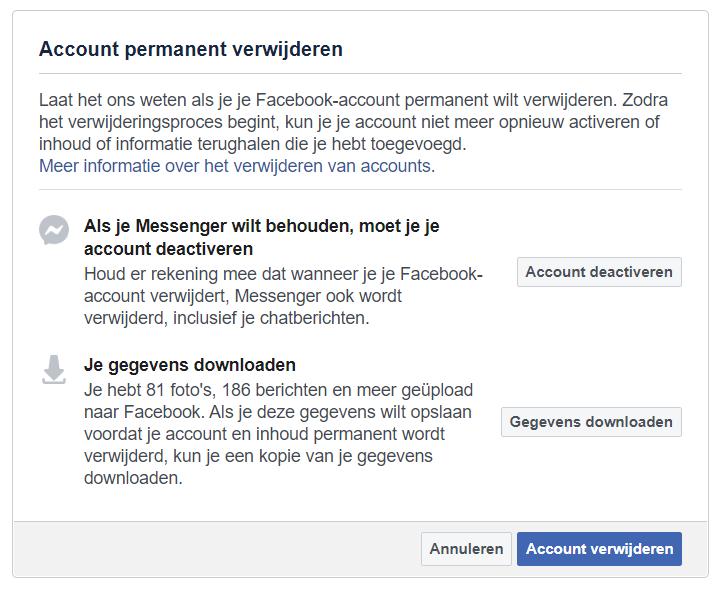 Screenshot van het verwijderen van je Facebook-account.