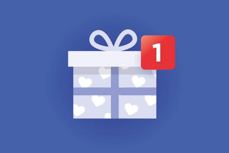 Visual van een cadeau in de stijl van Facebook