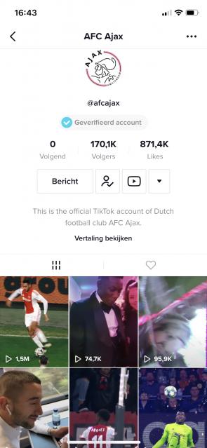 Ajax op Tiktok.