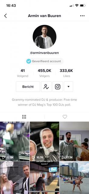 Screenshot TikTok-profiel Armin van Buuren.