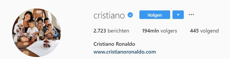 Instagram account Cristiano Ronaldo