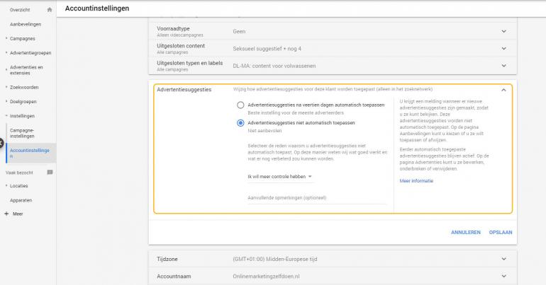 Screenshot van het automatisch doorvoeren van wijzigingen in de accountinstellingen van Google Ads.