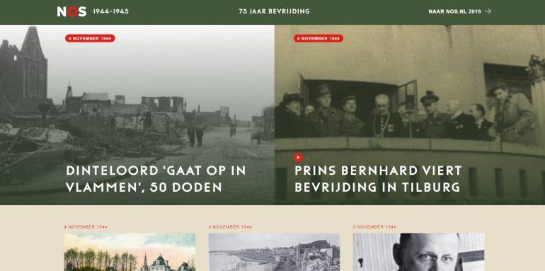 Storytelling NOS over 75 jaar bevrijding: screenshot.