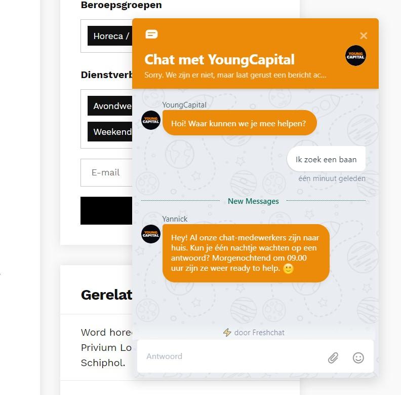 Screenshot van een chat van YoungCapital.