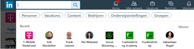 LinkedIn search history