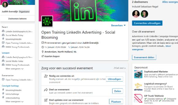 Overzicht nieuw LinkedIn event