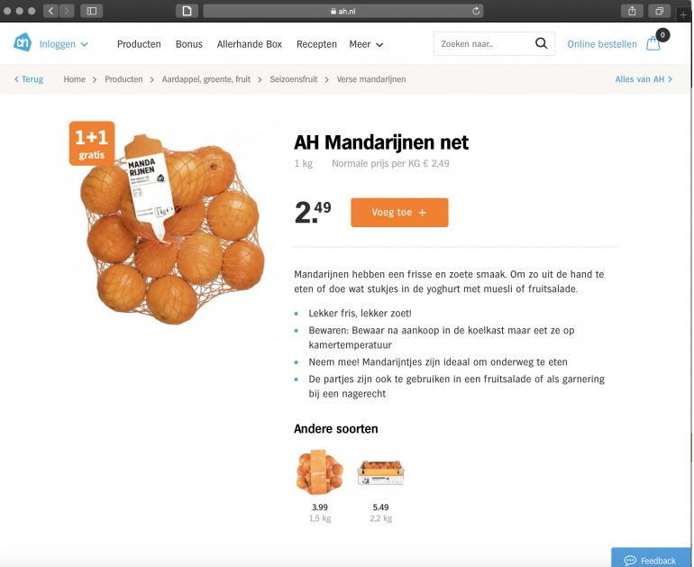 Screenshot van productpagina van Albert Heijn: mandarijnen.