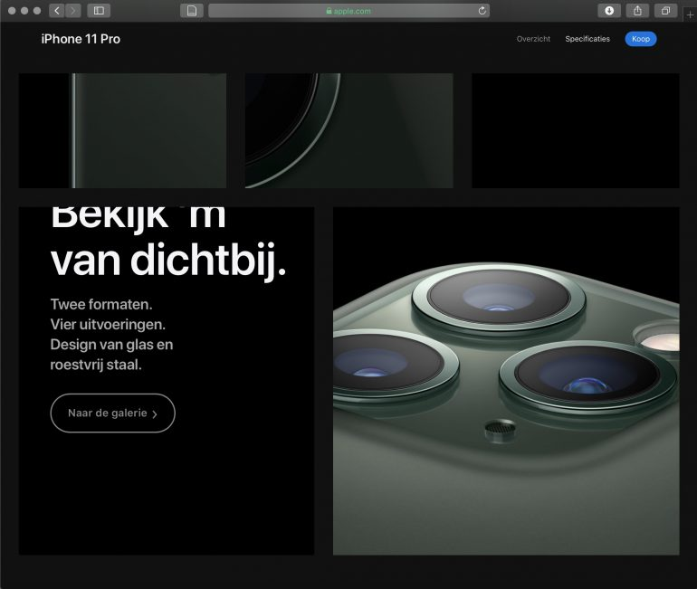 Screenshot van Apple's productpagina.