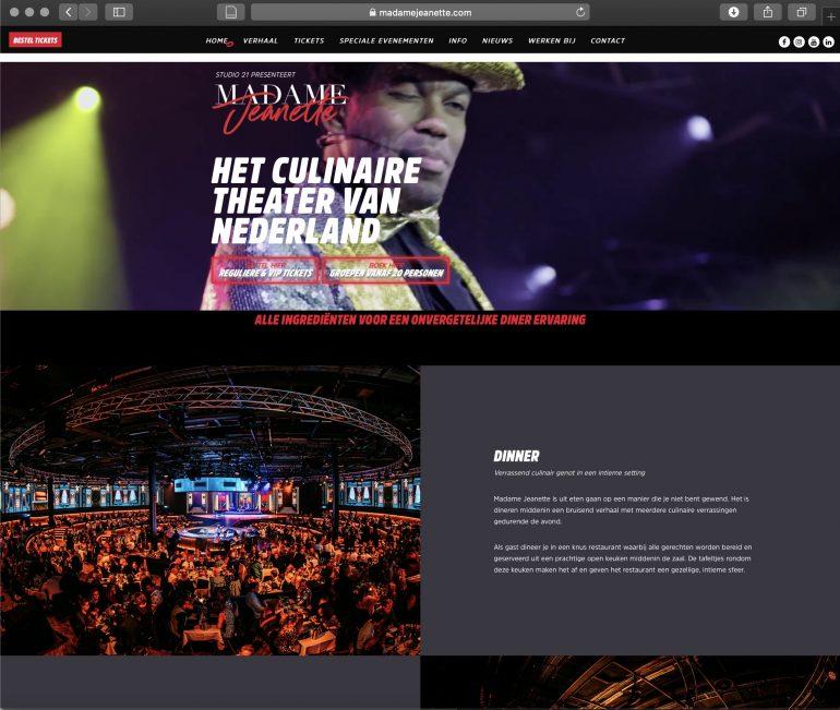 Screenshot van productpagina van Madame Jeanette.