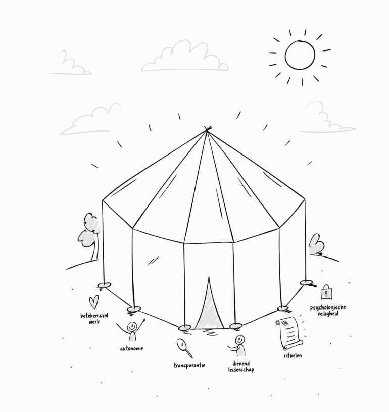 6 principes van organisatievibe gevisualiseerd