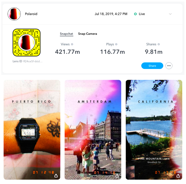 Polaroid Snapchat Lens by Arfected