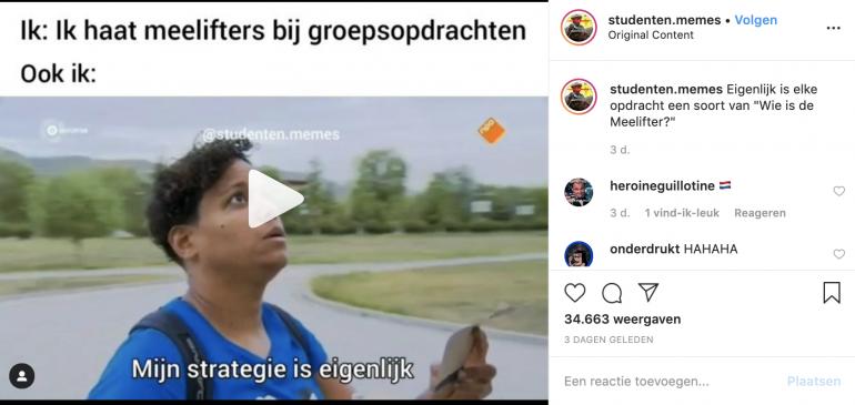 Tekstbeeld van studenten.memes.