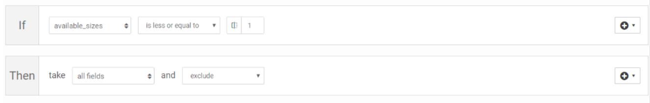 Alle maten waarvan 1 paar of minder beschikbaar is worden in dit voorbeeld uitgesloten uit de datafeed.