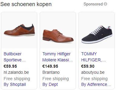 Voorbeeld Shopping-advertentie Google Ads.