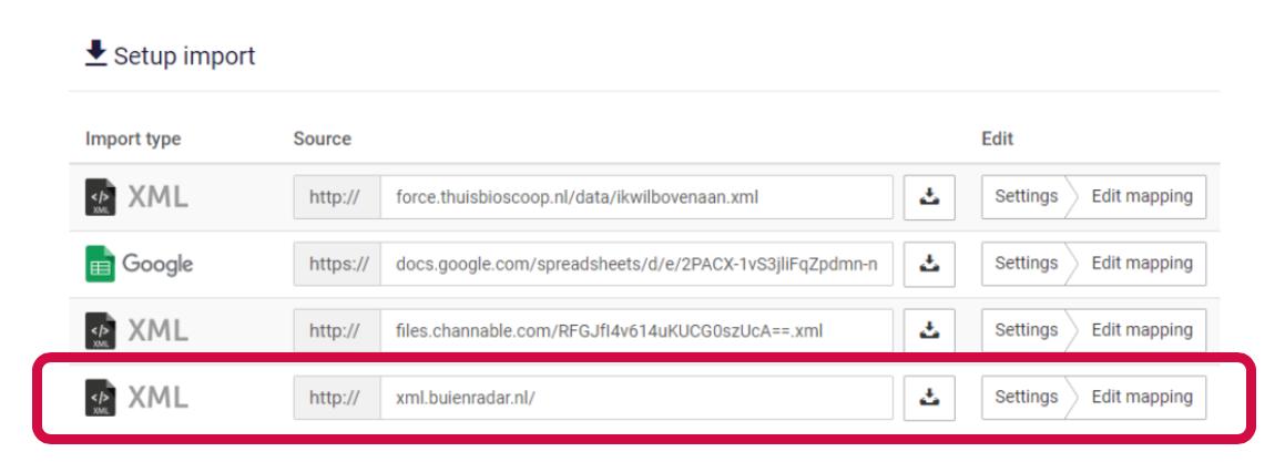 Screenshot van het toevoegen van de data van Buienradar in je feedmarketing.