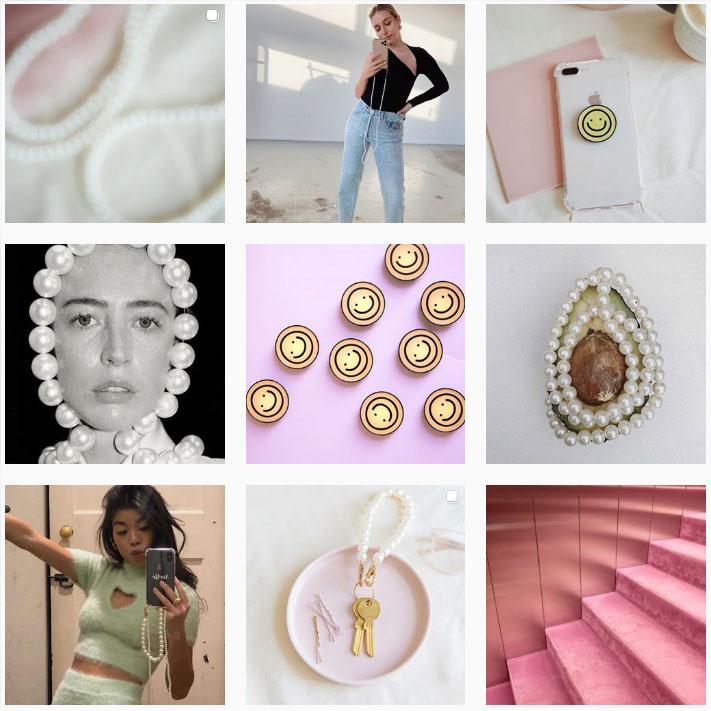 Instagram-account van Ateljé met pastelkleuren.